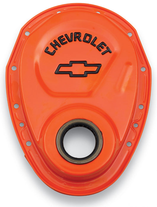 Chevrolet Performance Parts-141-783-Timing Chain Cover Orange Steel With Chevy Bowtie Logo SB Chevy 69-91 Chevrolet Performance Parts-AutoAccessoriesGuru.com