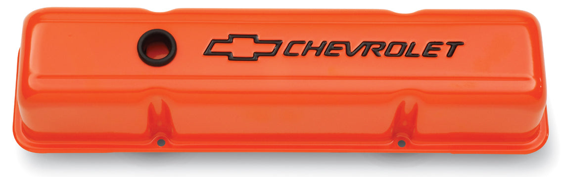 Chevrolet Performance Parts-141-784-Engine Valve Covers Stamped Steel Tall Orange w/ Bowtie Logo Fits SB Chevy Black Chevrolet & Bowtie Logos Chevrolet Performance Parts-AutoAccessoriesGuru.com