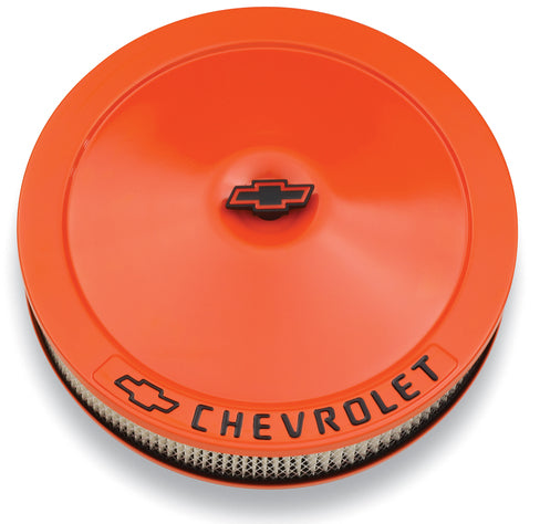 Chevrolet Performance Parts-141-785-Engine Air Cleaner Kit 14 Inch Diameter Orange Chevy Black Lettering W/Bowtie Logo Chevrolet Performance Parts-AutoAccessoriesGuru.com