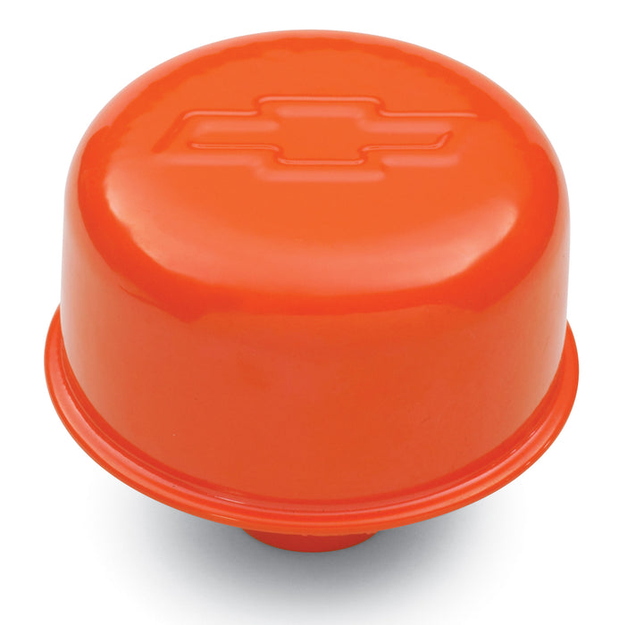 Chevrolet Performance Parts-141-786-Engine Valve Cover Breather 3 Inch Diameter Bowtie Logo Push-In Style Orange Chevrolet Performance Parts-AutoAccessoriesGuru.com