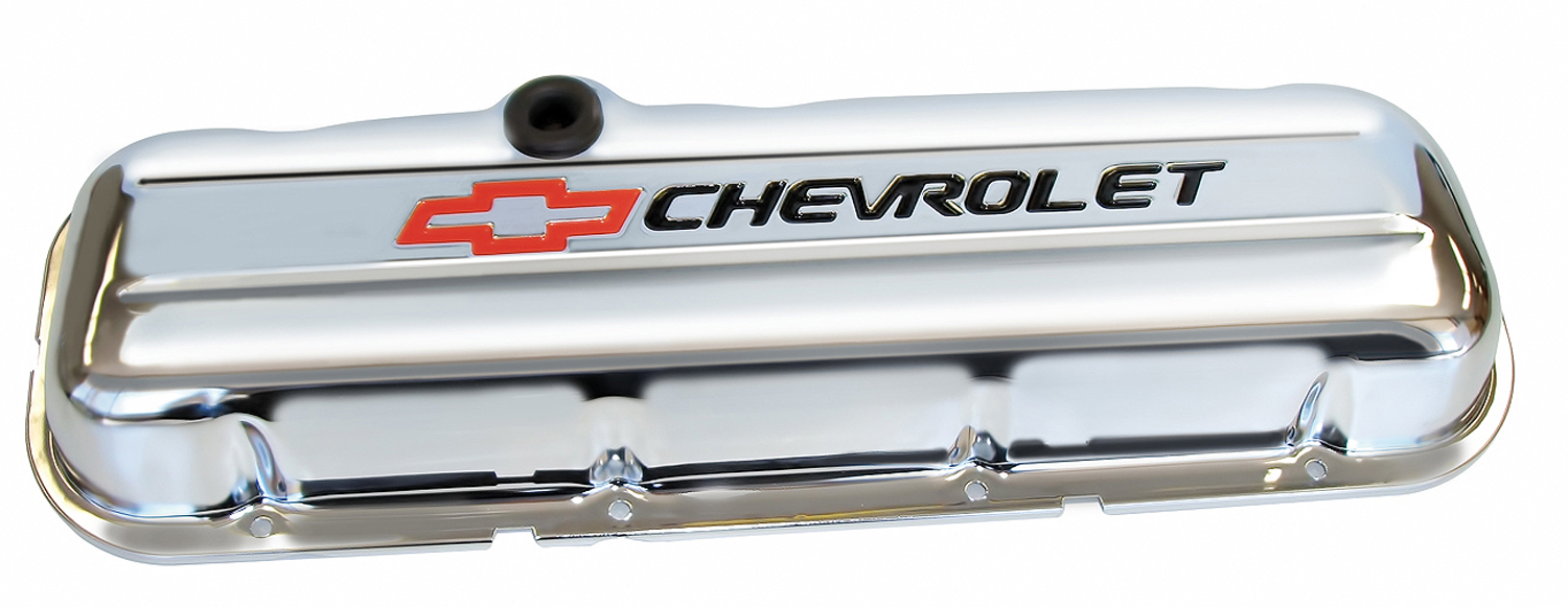 Chevrolet Performance Parts-141-812-Engine Valve Covers Stamped Steel Short Chrome w/ Bowtie Logo Fits BB Chevy Embossed Black Chevrolet & Red Bowtie Logos Chevrolet Performance Parts-AutoAccessoriesGuru.com