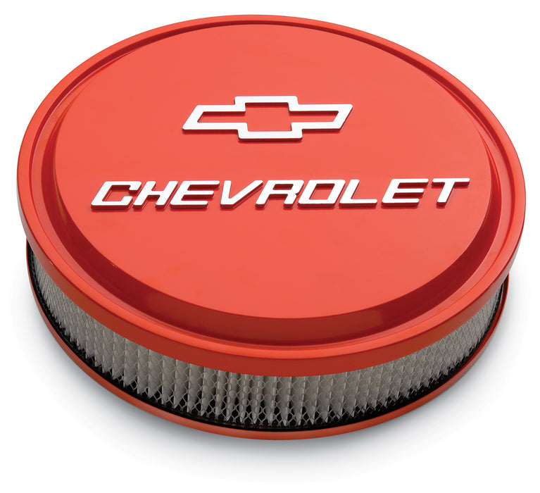 Chevrolet Performance Parts-141-831-14 Inch Air Cleaner Kit Alunimum Chevy Orange Raised Chevy and Bowtie Emblems Chevrolet Performance Parts-AutoAccessoriesGuru.com