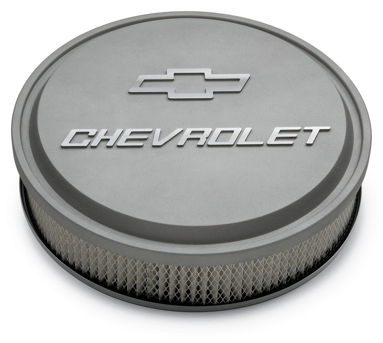 Chevrolet Performance Parts-141-832-14 Inch Air Cleaner Kit Alunimum Gray Crinkle Raised Chevy and Bowtie Emblems Chevrolet Performance Parts-AutoAccessoriesGuru.com