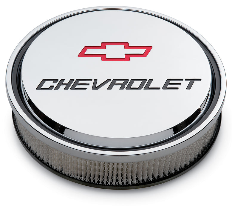 Chevrolet Performance Parts-141-835-14 Inch Air Cleaner Kit Alunimum Chrome Recessed Chevy and Bowtie Emblems Chevrolet Performance Parts-AutoAccessoriesGuru.com