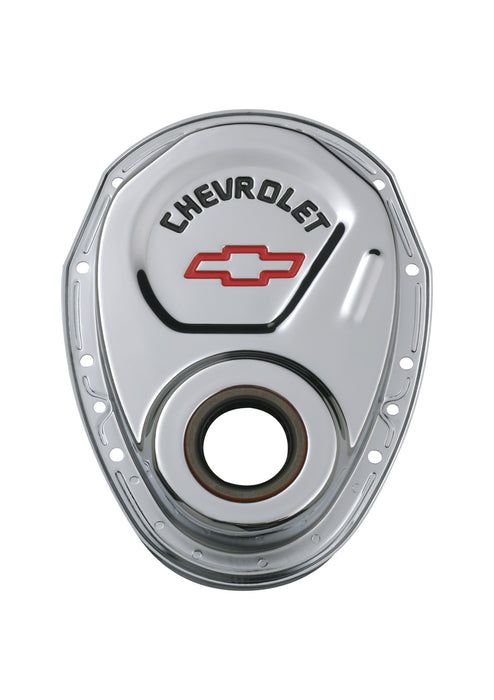 Chevrolet Performance Parts-141-904-Timing Chain Cover Chrome Steel With Chevy and Bowtie Logo Red SB Chevy 69-91 Chevrolet Performance Parts-AutoAccessoriesGuru.com