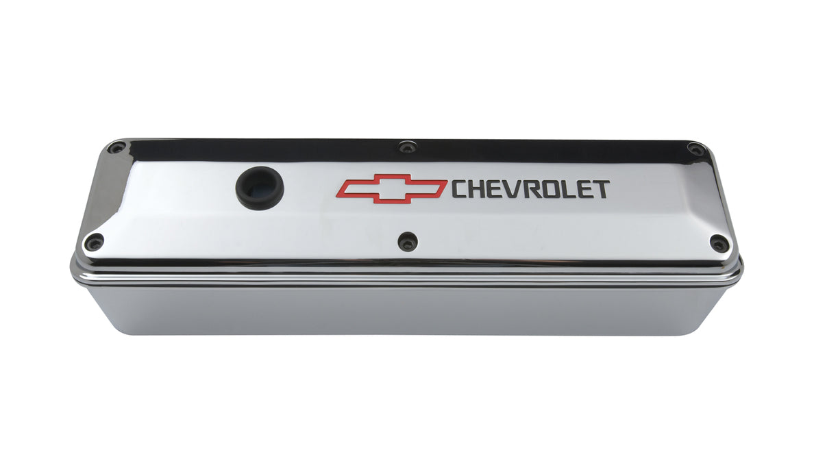 Chevrolet Performance Parts-141-912-Engine Valve Covers 2 Piece Tall Style Die Cast Chrome w/Bowtie LogoSB Chevy Recessed Black Chevrolet & Red Bowtie Logos Chevrolet Performance Parts-AutoAccessoriesGuru.com