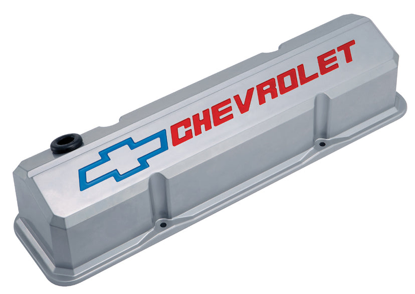 Chevrolet Performance Parts-141-923-Valve Covers Slant Edge Tall Die Cast Gray w/Recessed Bowtie Logo SB Chevy Recessed Red Chevrolet & Blue Bowtie Logos Chevrolet Performance Parts-AutoAccessoriesGuru.com