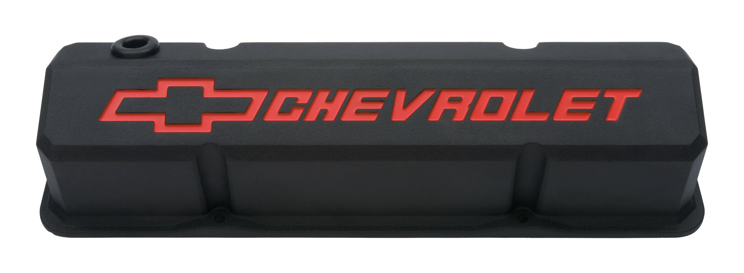 Chevrolet Performance Parts-141-928-Valve Covers Slant Edge Tall Die Cast Black w/Recessed Bowtie Logo SB Chevy Recessed Red Chevrolet & Bowtie Logos Chevrolet Performance Parts-AutoAccessoriesGuru.com