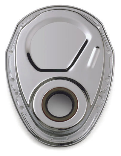 Chevrolet Performance Parts-141-963-Timing Chain Cover Chrome Steel Without Emblems SB Chevy 69-91 Chevrolet Performance Parts-AutoAccessoriesGuru.com