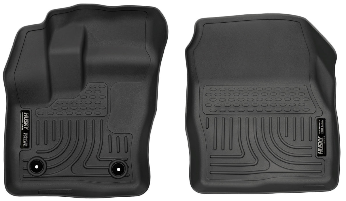 Husky Liners-18321-Husky Floor Liners Front 14-15 Ford Transit Connect WeatherBeater-Black-AutoAccessoriesGuru.com