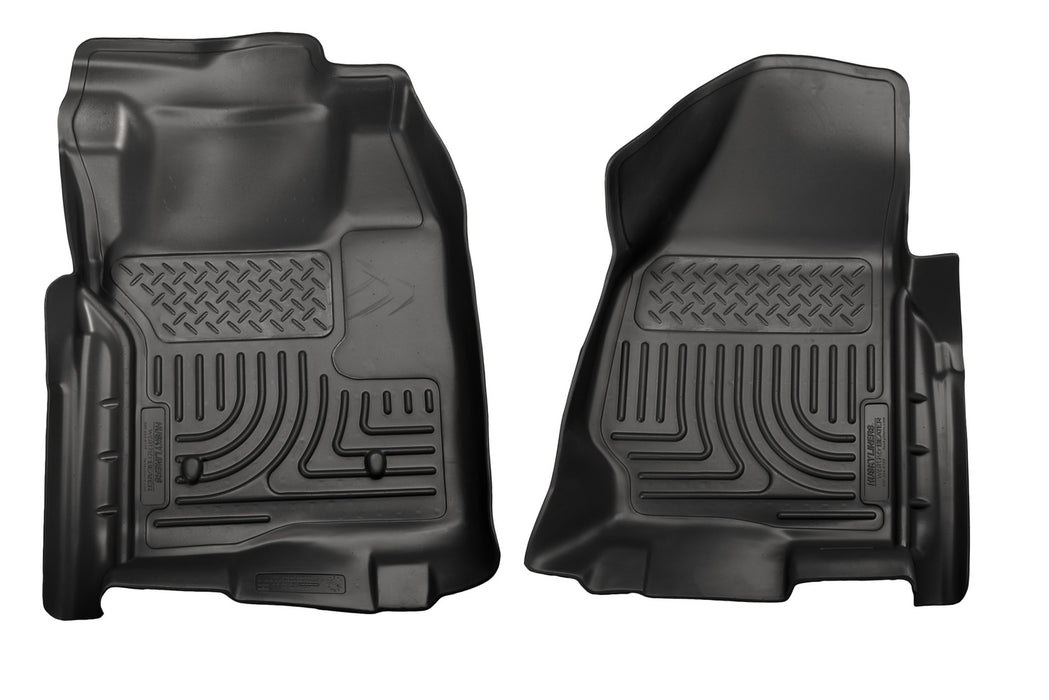 Husky Liners-18711-Husky Floor Liners Front 11-12 Ford F Series No Drivers Side Foot Rest WeatherBeater-Black-AutoAccessoriesGuru.com