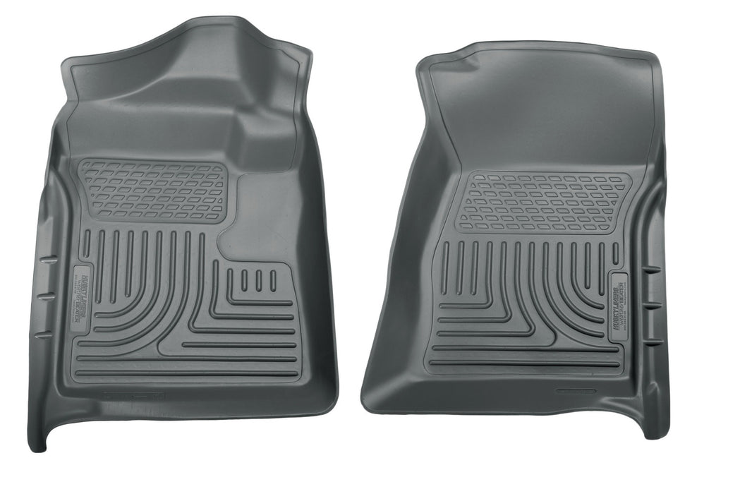 Husky Liners-18722-Husky Floor Liners Front 12-15 Ford F Series With Side Foot Rest WeatherBeater-Grey-AutoAccessoriesGuru.com