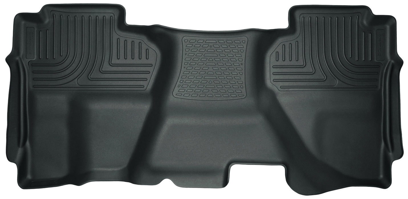 Husky Liners-19192-Husky Floor Liners 2nd Seat (Full Coverage) 07-13 Silverado/Sierra Extended Cab WeatherBeater-Grey-AutoAccessoriesGuru.com