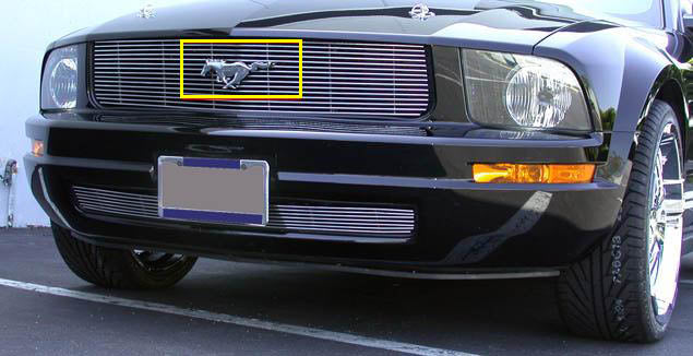 T-REX Grilles-19515-Mustang Grille Emblem 05-08 Ford Mustang For Remounting Factory Logo Mild Steel Powdercoat Black T-REX Grilles-AutoAccessoriesGuru.com