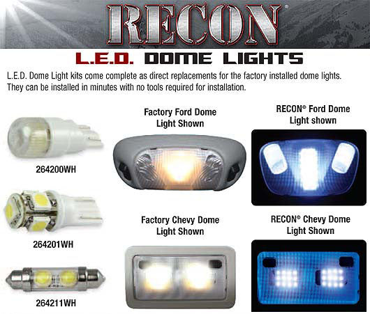 RECON-264162-Recon LED DomeLight Kit 07-13 Chevy Silverado/GMC Sierra # 264162-AutoAccessoriesGuru.com
