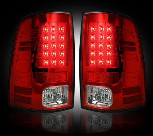 Recon LED Tail Lights Dodge Ram 09-14 RED CLEAR #264169RD-Auto Accessories Guru .COM