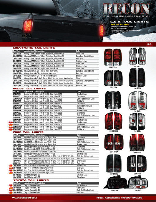 RECON-264173RBK-RECON LED Tail Lights GMC Sierra 99-07 RED SMOKED Part# 264173RBK-AutoAccessoriesGuru.com