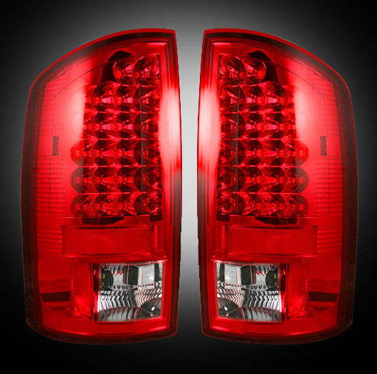 Recon LED Tail Lights Dodge Ram 07-08 1500 07-09 2500/3500 RED CLEAR #264179RD-Auto Accessories Guru .COM