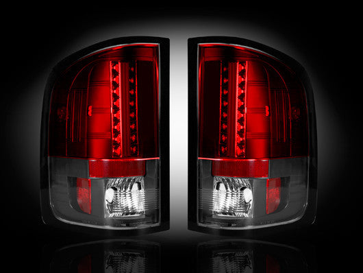 RECON-264189RD-RECON LED Tail Lights GMC Sierra 07-13 RED CLEAR Part# 264189RD-AutoAccessoriesGuru.com