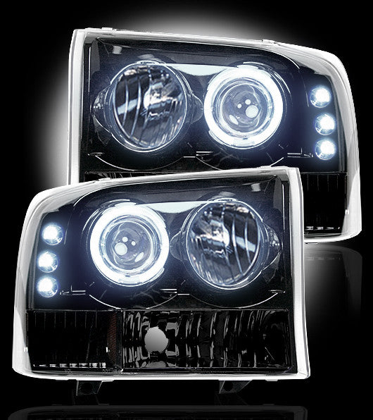 RECON-264192BK-RECON Projector Headlights Superduty/Excursion 99-04 SMOKED w LED HALOS Part# 264192BK-AutoAccessoriesGuru.com