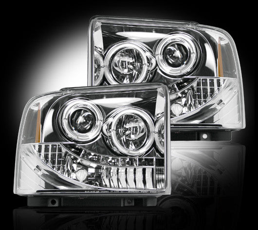 RECON-264193CL-RECON Projector Headlights Superduty/Excursion 05-07 CLEAR w LED HALOS Part# 264193CL-AutoAccessoriesGuru.com