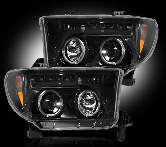 RECON-264194BK-RECON Projector Headlights 07-13 Tundra / 08-13 Sequoia SMOKED w LED HALOS 264194BK-AutoAccessoriesGuru.com