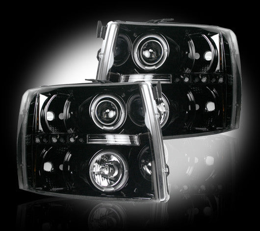 RECON-264195BK-RECON Projector Headlights Chevy Silverado 07-13 SMOKED w LED HALOS Part# 264195BK-AutoAccessoriesGuru.com