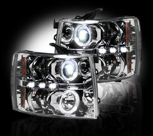 Recon PROJECTOR HEADLIGHTS Chevy Silverado 07-13 CLEAR w LED HALOS #264195CL-Auto Accessories Guru .COM