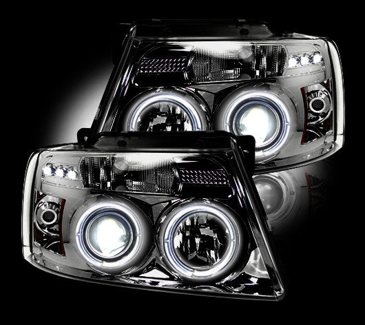 RECON-264198CL-RECON Projector Headlights Ford F-150 04-08 w HALO CLEAR Part# 264198CL-AutoAccessoriesGuru.com