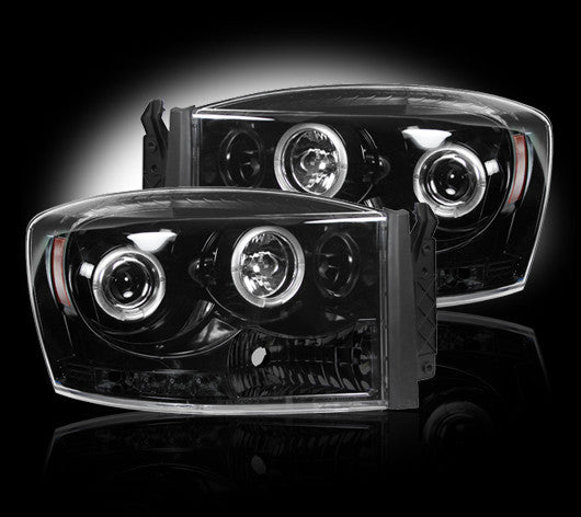 RECON-264199BKCC-RECON Projector Headlights Dodge Ram 06-08 SMOKED w/ CCFL HALOS Part# 264199BKCC-AutoAccessoriesGuru.com