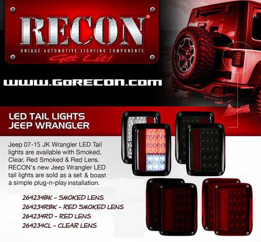RECON-264234RD-RECON LED Tail Lights Jeep Wrangler JK 07-17 RED CLEAR Part# 264234RD-AutoAccessoriesGuru.com