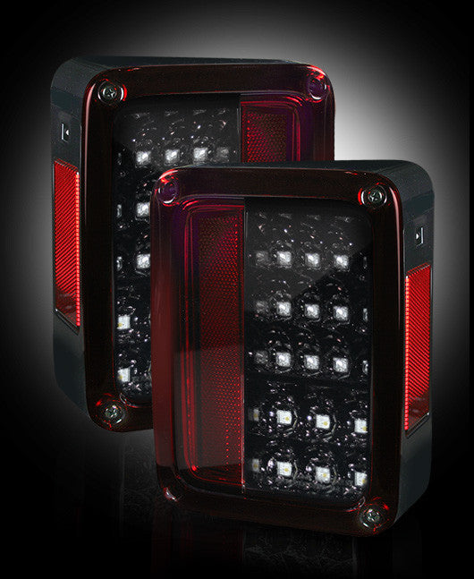 RECON-264234RBK-RECON LED Tail Lights Jeep Wrangler JK 07-17 RED SMOKED Part# 264234RBK-AutoAccessoriesGuru.com