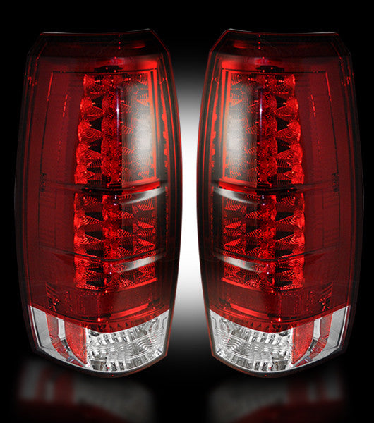 RECON-264235RD-RECON LED Tail Lights Chevy Avalanche 07-13 RED CLEAR Part# 264235RD-AutoAccessoriesGuru.com