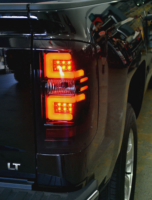 RECON-264238BK-RECON LED Tail Lights Chevy Silverado 14-17 SMOKED OLED Part# 264238BK-AutoAccessoriesGuru.com