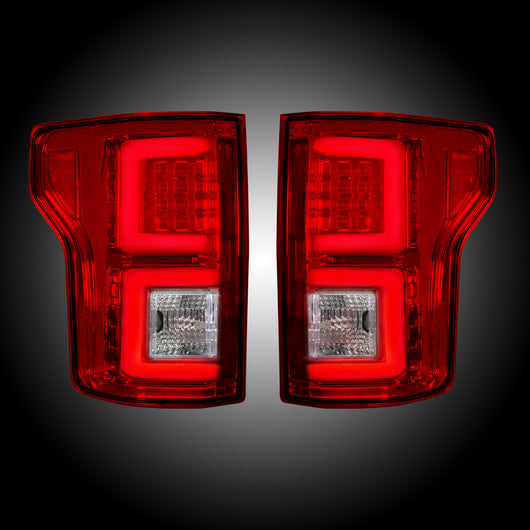 Recon LED Tail Lights Ford F-150 15-17 RED CLEAR #264268RD-Auto Accessories Guru .COM