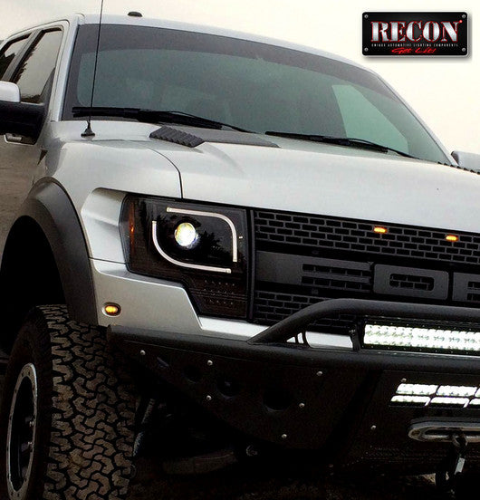 RECON-264273BKC-RECON Projector Headlights Ford F-150 13-14 & Raptor Smoked/Black Part# 264273BKC-AutoAccessoriesGuru.com