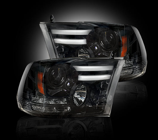 RECON Projector Headlights Dodge RAM 14-18 SMOKED 264276BKC