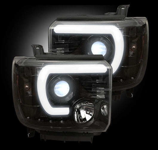 Recon PROJECTOR HEADLIGHTS GMC Sierra & Denali 14-17 SMOKED w OLED HALOS #264295BKC-Auto Accessories Guru .COM