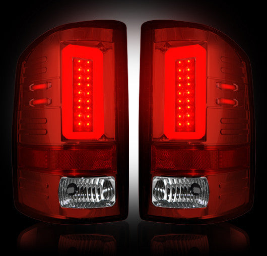 RECON-264298RD-RECON LED Tail Lights GMC Sierra 16-17 RED CLEAR OLED Part# 264298RD-AutoAccessoriesGuru.com