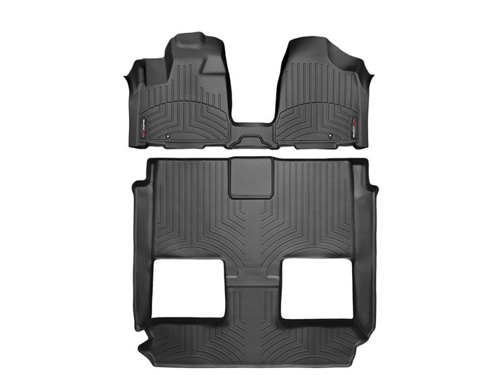 WeatherTech 445621-441414 Digital Fit Floor Liners Dodge Grand Caravan 2011 2012 2013 2014 2015 2016 2017 2018 Front 2nd 3rd Row Black Mats