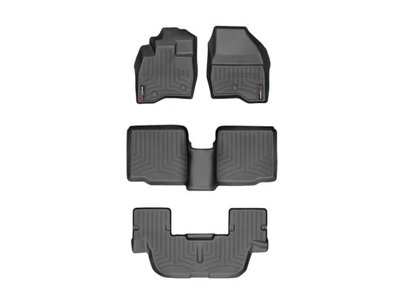 WeatherTech 449811-44359-2-3 1st 2nd and 3rd Row Custom Fit Floor Mats Liners 2017 2018 Ford Explorer BLACK 2nd Row Bench or Bucket Seats w/o Console