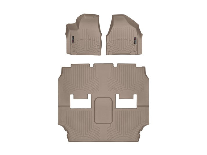 WeatherTech 459451-459452 Digital Fit Floor Liners 2017 2018 17 18 Chrysler Pacifica Front and Rear Tan