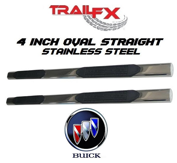 "TrailFX 4"" Oval Straight STAINLESS Nerf Bars 