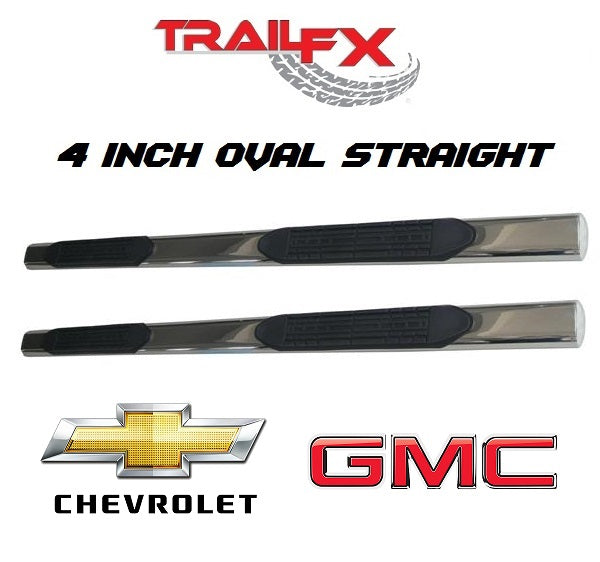 "TrailFX® A1501S 4"" Oval Straight STAINLESS Step Bars 