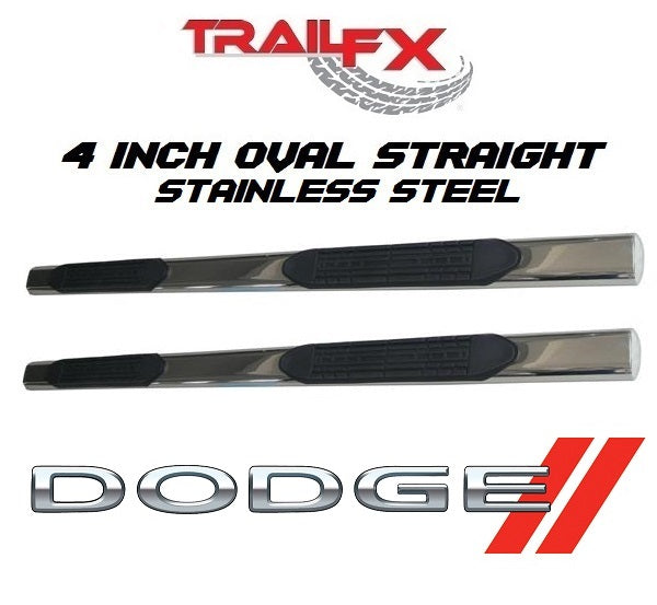 "TrailFX® 2920212021 4"" Oval Straight STAINLESS Step Bars 