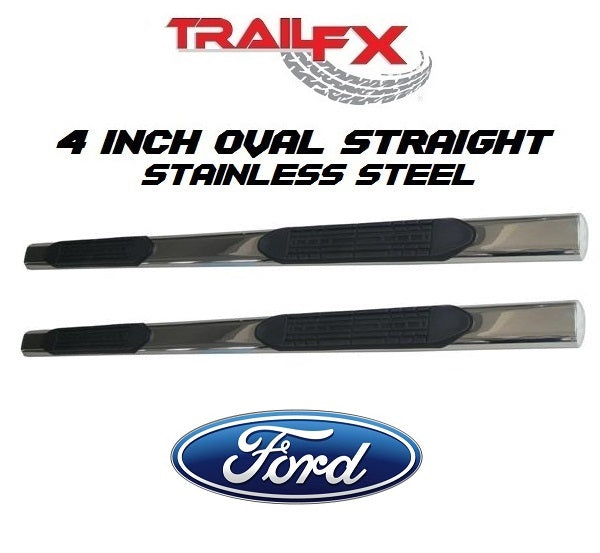 "TrailFX® A1531S 4"" Oval Straight STAINLESS Step Bars 