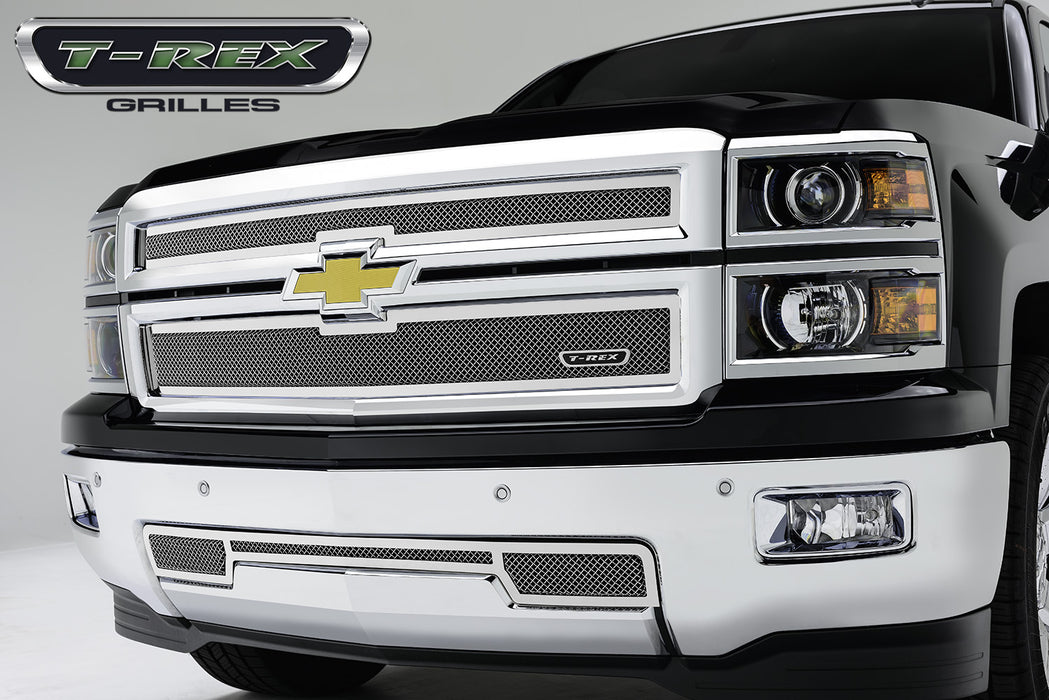 T-REX Grilles-54121-Silverado Grille 14-15 Chevrolet Silverado Replacement Stainless Polished 2 Piece Upper Class Series T-REX Grilles-AutoAccessoriesGuru.com