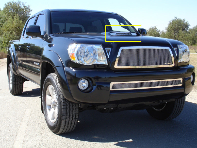 T-REX Grilles-54897-Tacoma Hood Scoop Grille Insert 05-10 Toyota Tacoma Stainless Polished Upper Class Series T-REX Grilles-AutoAccessoriesGuru.com