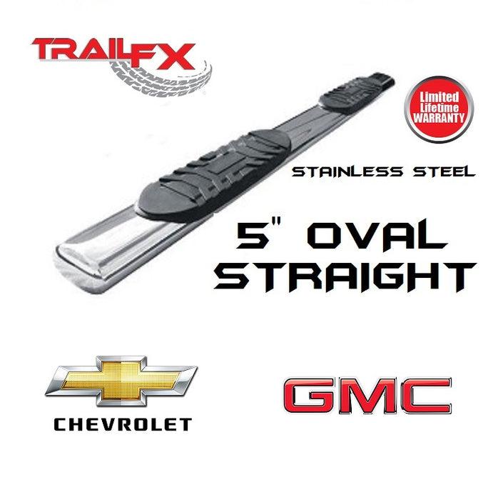 "TrailFX 5"" Oval Straight STAINLESS Nerf Bars 