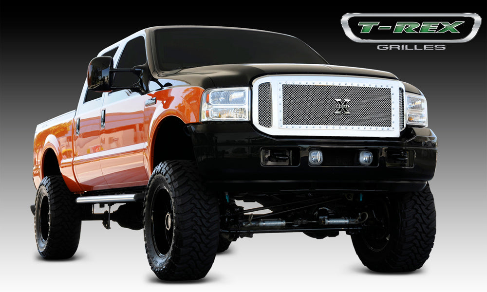 T-REX Grilles-6705610-Super Duty Grille 05-07 Ford Super Duty Stainless Polished X Metal Series T-REX Grilles-AutoAccessoriesGuru.com
